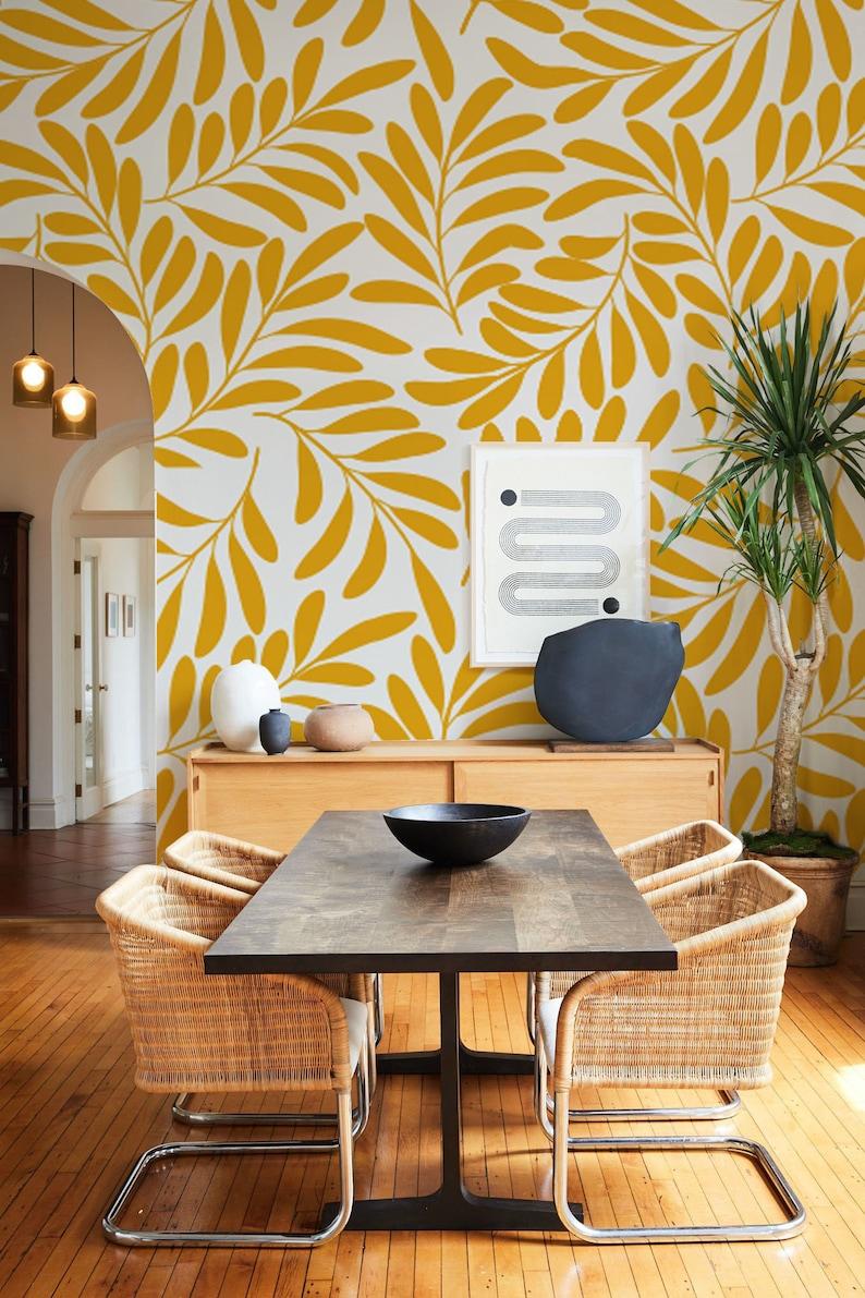 Honey Yellow Peel and Stick Wallpaper Botanical Wallpaper ...
