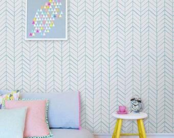 Removable chevron wall decal - Self adhesive wallpaper - adhesive wallpaper - 026 SNOW/ SEAFOAM