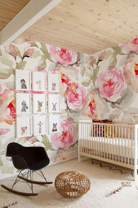 Large Floral pattern Wallpaper Flower Wallpaper Wall Mural Etsy