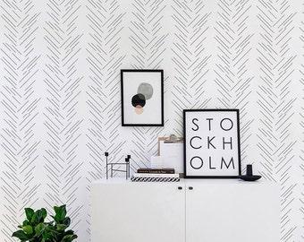 Herringbone Wallpaper/ Monochrome Removable Self-adhesive Wallpaper / Pattern Wall Covering - 189