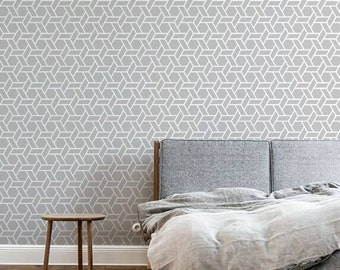 Self adhesive vinyl wallpaper, wall decal - Geometric Hex  print  - 029 SNOW/ WHISPER