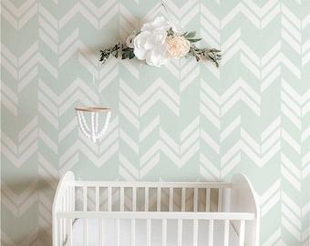 NURSERY Self adhesive, removable wallpaper, wall covering, wall decal - Herringbone pattern print - 044 VENICE/ SNOW