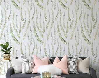 Herbal Self adhesive vinyl temporary removable Leaf wallpaper, wall decal - Botanical wallapper mural - 176