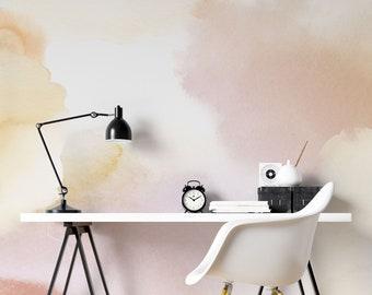 Blush pink Watercolour splash Peel and Stick Wallpaper - Watercolor Wallpaper Mural - Self Adhesive Wallpaper - Removable Wallpaper -ZP008
