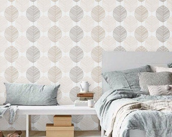 Self adhesive vinyl wallpaper - Leaf wall pattern - 062 Snow/ Champagne/ Gravel/ Latte