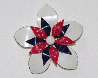 Vintage Marine Enamel Flower Brooche, Metal Brooche, Vintage Brooche, Metal Pin, White Blue Red, Nautical brooche