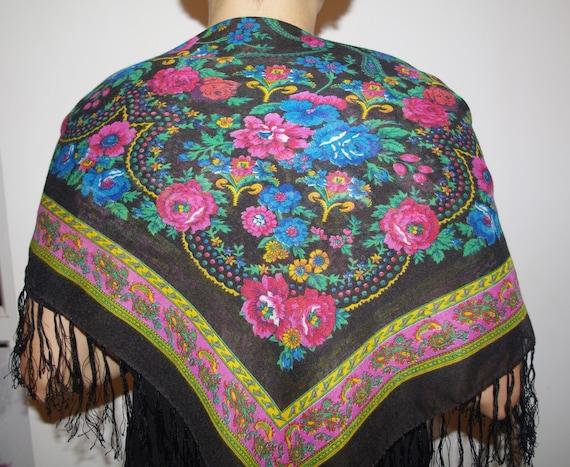 Polish black shawl with fringes Bohemian shawl Rus