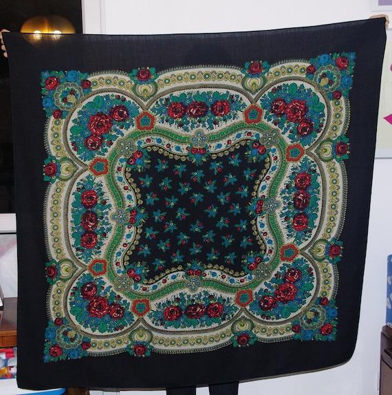 Huge Black Russian Shawl Pavlovo Posad shawl Ukrai