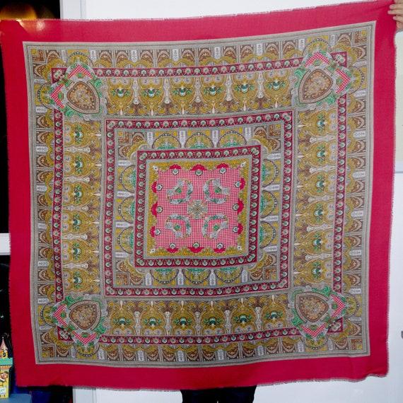 Huge Red Russian Shawl Pavlovo Posad shawl Ukraini