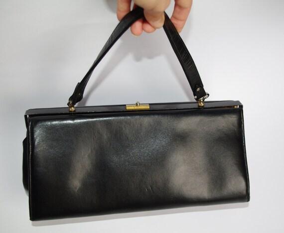 Details zu Kleine schwarze vintage Handtasche Ledertasche mit Metallrahmen