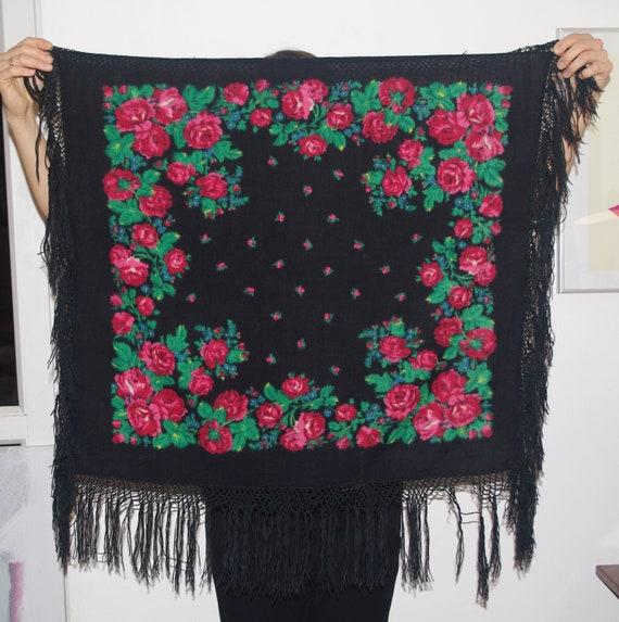 Polish black shawl with fringes Bohemian shawl Vin