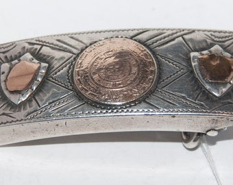 Vintage Mexican sterling silver belt buckle, very old