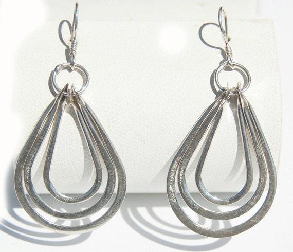 Earrings, vintage, sterling silver