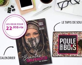 DUO Promo Calendrier 2022 les Beautés sauvages du Québec et le TAPIS de souris spécial édition CALENDRIER
