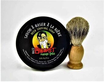 Beer Shaving Soap RazzBocket - Limited Edition Mango Folie with shaving brush