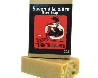 Handmade beer soap withTante Tricotante (The Knitting Aunt) beer-