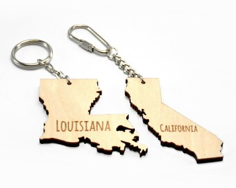 US State Keychain, Wooden keychain, USA keychains, State keychain, US States, Gift for her, Gift for him, Customized keychain, Cool gift