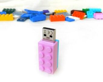 Lego usb flash drive 8GB USB - Memory Stick -  Lego® original usb Brick - Lego® 2x4 Brick - Lego® usb Pink Turquoise -Duo Color bricks usb