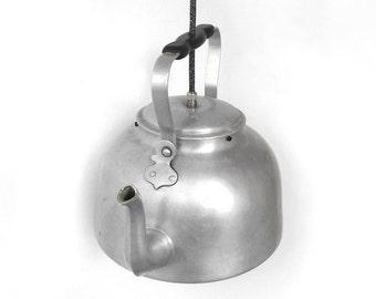 Kitchen Lighting, Kettle Lighting, Lighting Fixture, Pendant lighting, Vintage home decor, Vintage teapot, Hanging lighting, Ceiling Lamp
