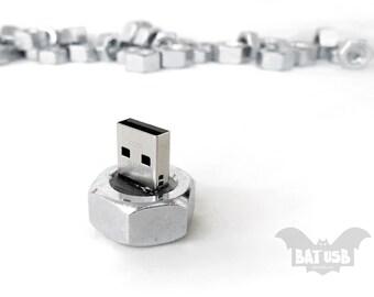 Nut usb - 8/16/32/64GB USB flash drive - Memory Stick Nut screw - Silver usb - Laptop handy fit - Bolt nut - Screw usb - Steampunk usb -Inox