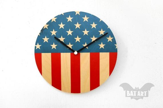 Estados Unidos bandera reloj de pared 28cm bandera de pared  25e347c0f0f