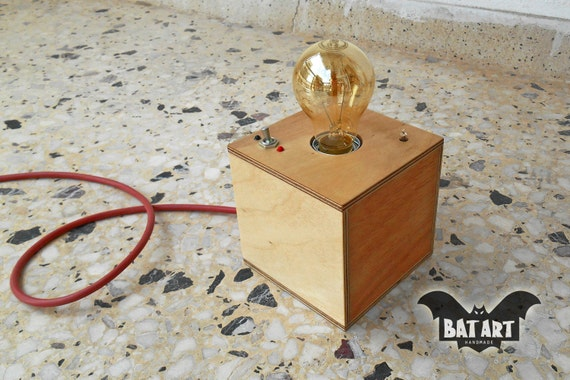 Desk lamp cube plywood with vintage Toggle Switch - Lighting Fixture -  Vintage rubber wire - E27 metal lamp holder -Indication lamp