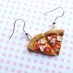 Cute earrings with miniature pizza