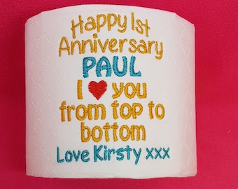 Embroidered Personalised toilet roll Unique novelty Present/Gift 1st First Paper Wedding Anniversary: Cellophane Gift Wrapped Personalized