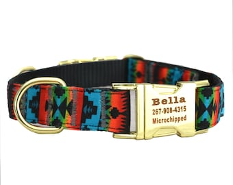 Dog Collar with Personalized Buckle,Navajo Tribal