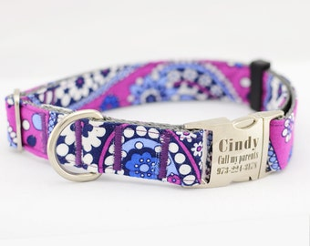 Laser Engraved Personalized Dog Collar,Purple Flower,Fabric 62