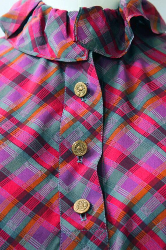 Yves Saint Laurent 1970s Plaid Silk Necktie Blouse - image 4