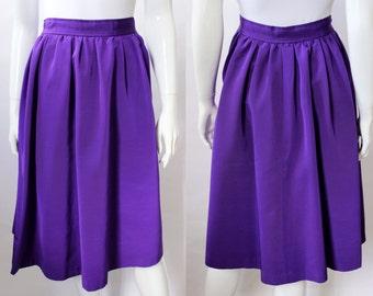 Yves Saint Laurent Purple Grosgrain Full Skirt, Vintage