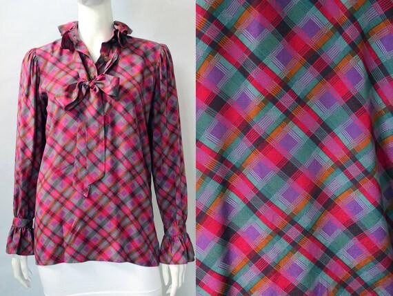 Yves Saint Laurent 1970s Plaid Silk Necktie Blouse - image 1