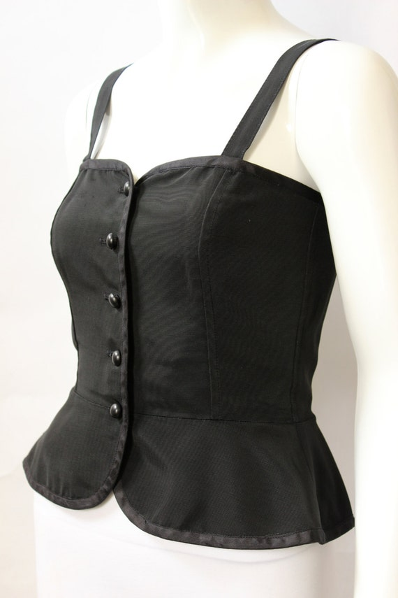 Yves Saint Laurent 1970s Black Corset Top - image 2