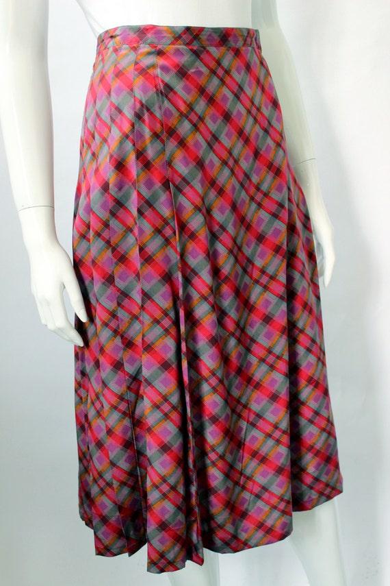 Yves Saint Laurent 1970s Plaid Silk Wrap Skirt - image 2
