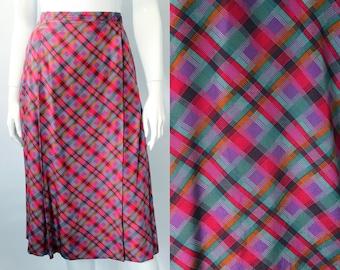 Yves Saint Laurent 1970s Plaid Silk Wrap Skirt
