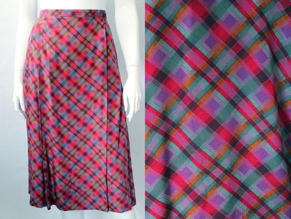 Yves Saint Laurent 1970s Plaid Silk Wrap Skirt - image 1