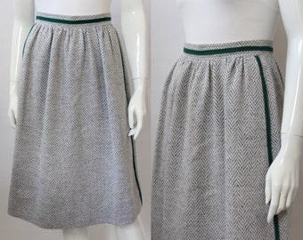 Courreges Paris Grey Herringbone Green Stripe Trim Skirt