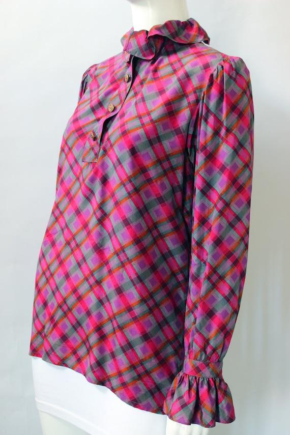 Yves Saint Laurent 1970s Plaid Silk Necktie Blouse - image 3