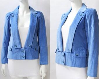 Courreges Paris Blue Velveteen Cotton Jacket