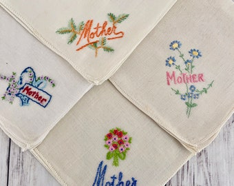 11in square Mothers Day Gift Vintage Mother Embroidered Handkerchief White Cotton Hankie with Sentiment and Dianthus in Blue