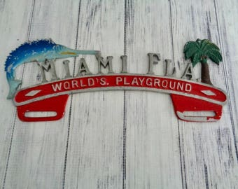 Vintage Miami Florida License Plate Topper, Sailfish and Palm Trees, Florida Travel Souvenir, Transportation Collectible Christmas Gift Idea