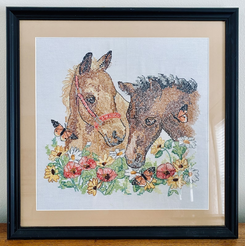 Very Sweet Perfect Horse Lover Gift Vintage Framed Cross Stitch of Two Horses Foals With Flowers Poppies and Daisies With Butterflies