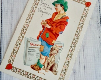 Antique Postcard 1930s Valentine Greeting Embossed Postcard Unused Newspaper Boy and His Dog, No Markings, Carrington Card Company Chicago