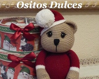 PATTERN: Teddy Christmas  Amigurumi Pattern  in English and Spanish