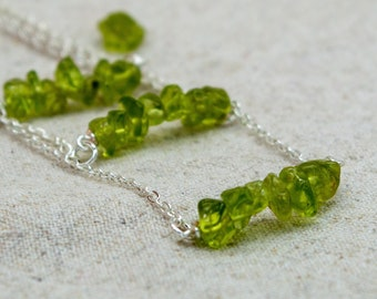 Peridot Chip Bar Necklace | Silver Plated | Sterling Silver