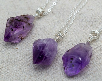 Wire Wrapped Amethyst Point Necklace | Silver Plated | Sterling Silver