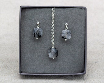 Tourmalinated Quartz Necklace and Earrings Gift Set | Silver Plated | Sterling Silver