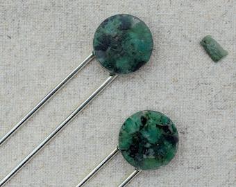 Emerald Rock Resin Hair Pin | Hair Fork | Silver Plated