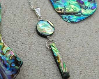 Abalone Shell Wire Wrapped Necklace  | Silver Plated | Sterling Silver